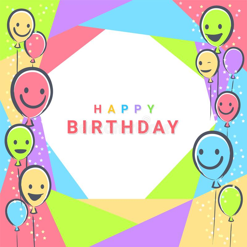 Colorful Birthday design banner background for greeting cards or poster with balloon frame. Colorful Birthday design banner background for greeting cards or vector illustration