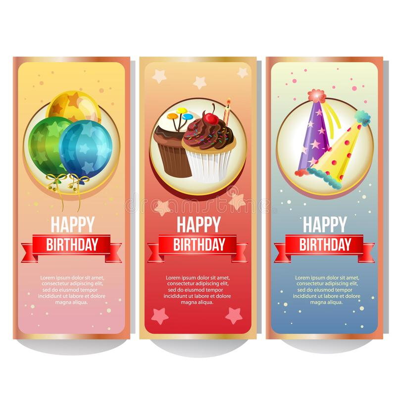 Colorful birthday party banner collection. Additional file eps 10 stock illustration