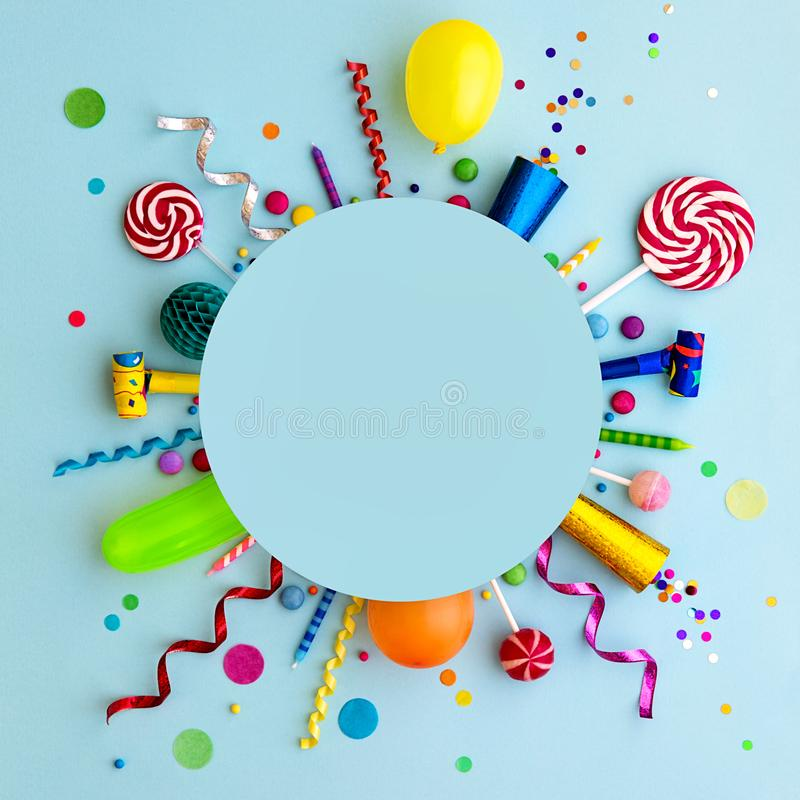 Colorful birthday party flat lay background stock photo