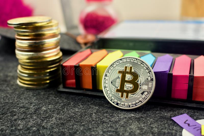 Colorful bitcoin concept royalty free stock image