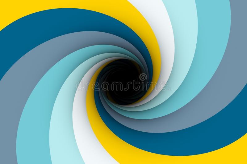 Colorful black hole. Yellow blue color 3D illustration stock illustration