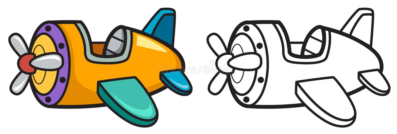 Colorful and black and white airplane vector illustration