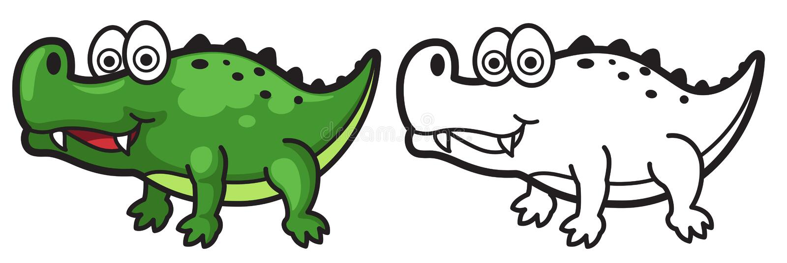Colorful and black and white alligator stock illustration