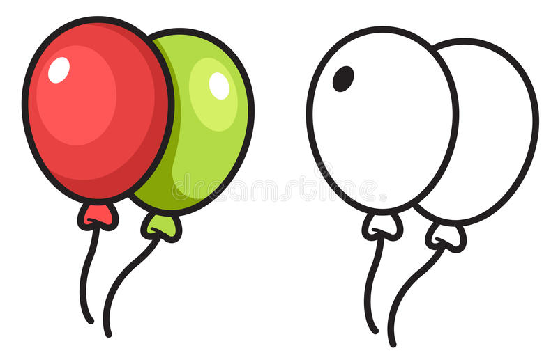 Colorful and black and white balloon stock illustration