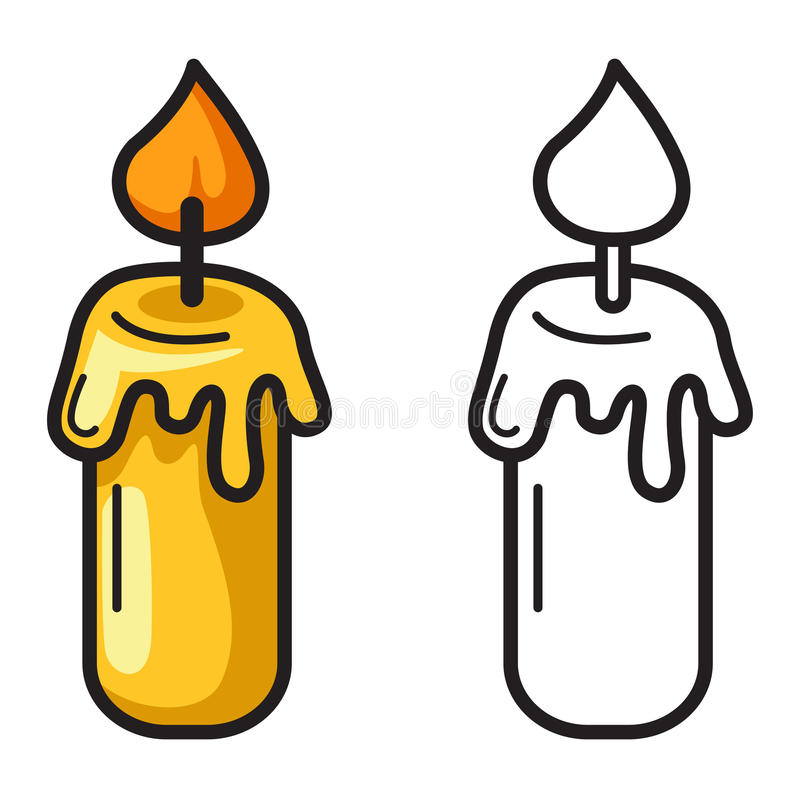 Colorful And Black And White Candle For Coloring Book Stock Vector ...