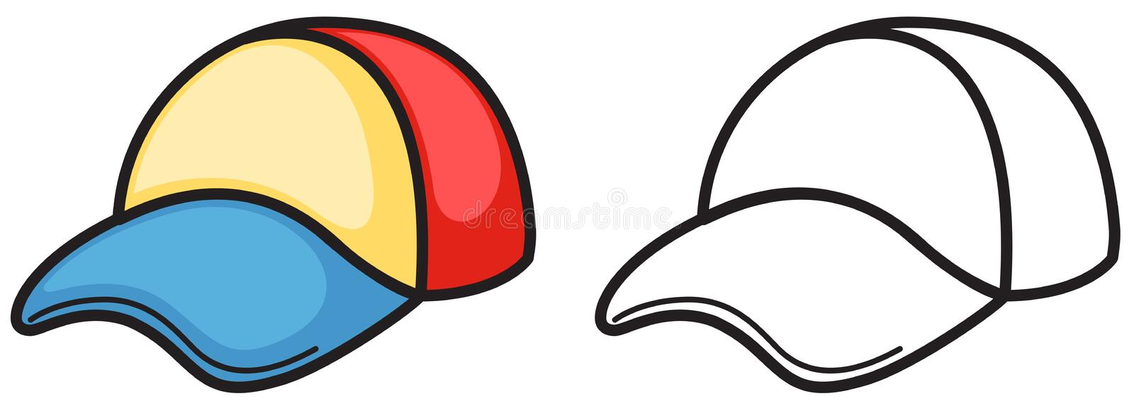 colorful and black and white cap for coloring book stock vector rh dreamstime com ball cap clipart black and white baseball cap clipart black and white