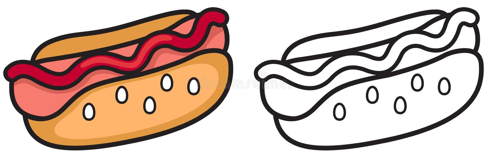 Colorful and black and white hotdog for coloring book royalty free illustration