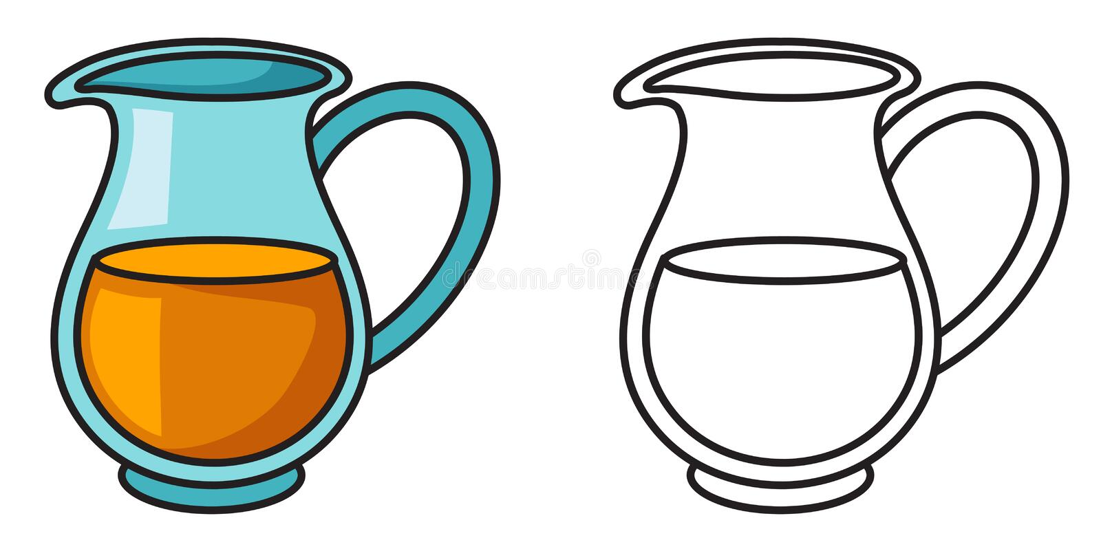 Colorful and black and white jug for coloring book vector illustration
