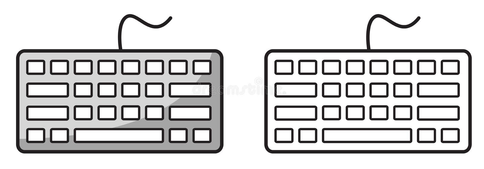 Colorful and black and white keyboard for coloring book royalty free illustration
