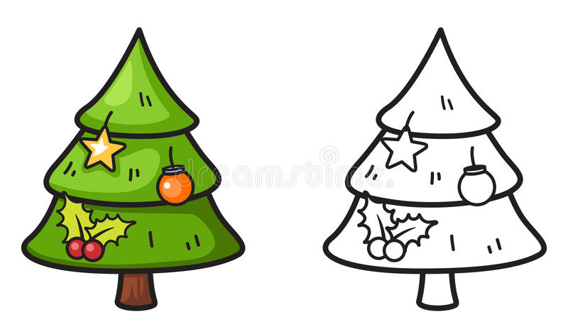 Colorful and black and white x-mas tree for coloring book vector illustration