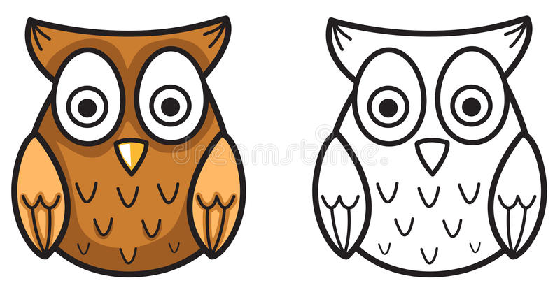 Colorful and black and white owl for coloring book stock illustration