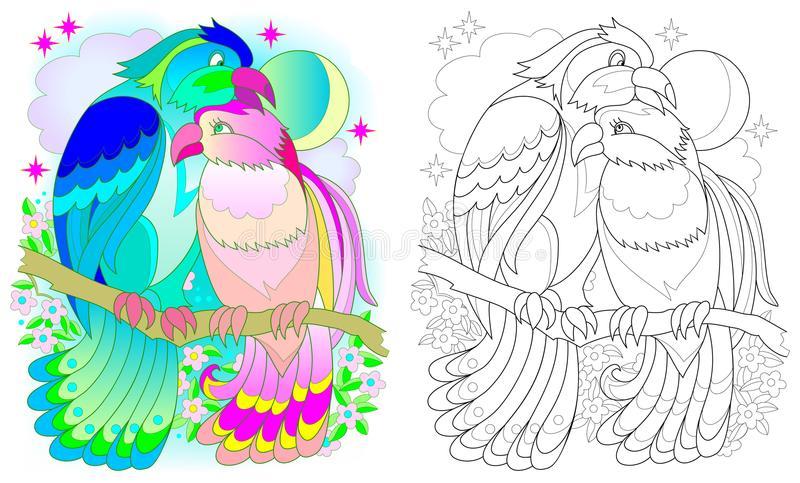Colorful and black and white pattern for coloring. Fantasy drawing of birds couple. Worksheet for children and adults. stock illustration