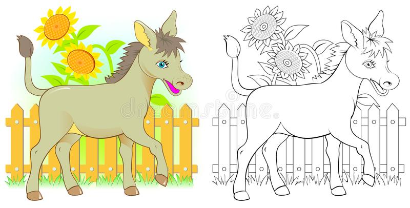 Colorful and black and white pattern for coloring. Illustration of cute donkey. stock illustration