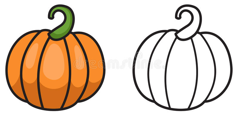 Colorful And Black And White Pumpkin For Coloring Book Stock Vector ...