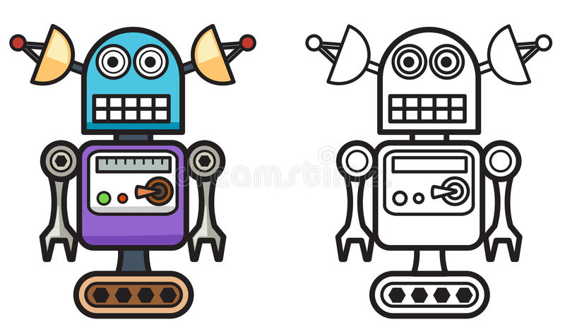 Colorful and black and white robot for coloring book stock illustration