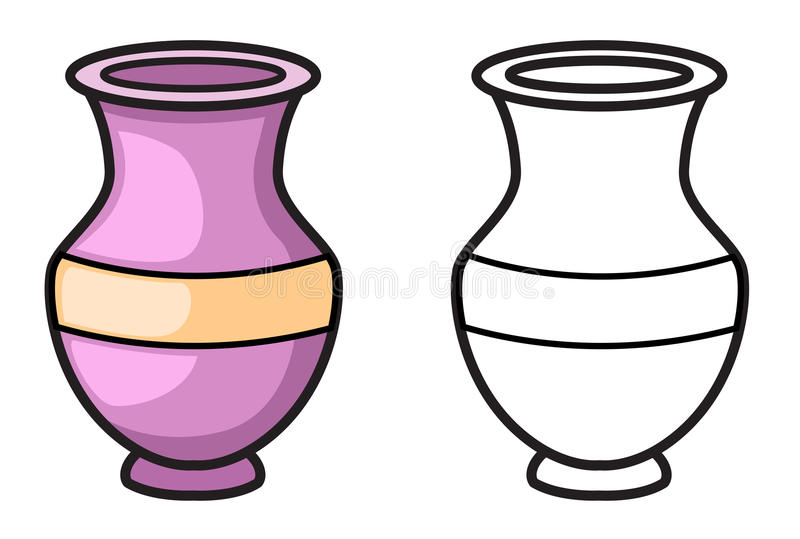 Colorful and black and white vase for coloring book vector illustration