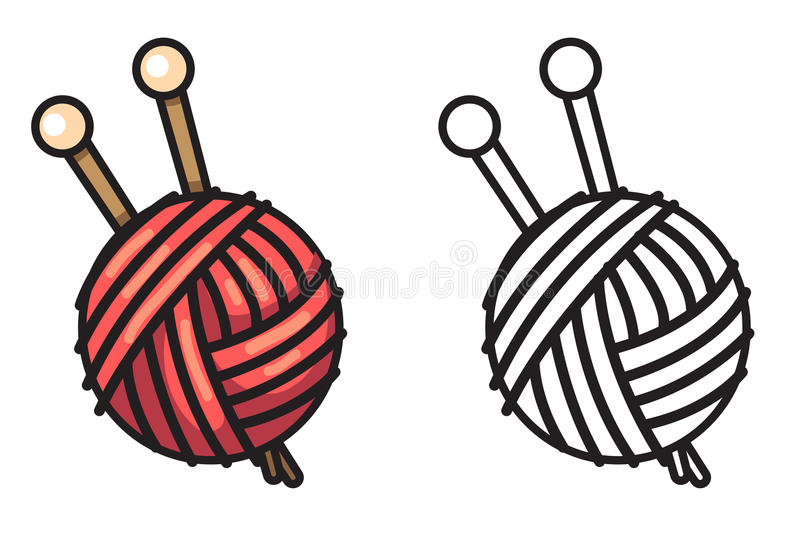 Colorful And Black And White Yarn For Coloring Book Stock Vector ...
