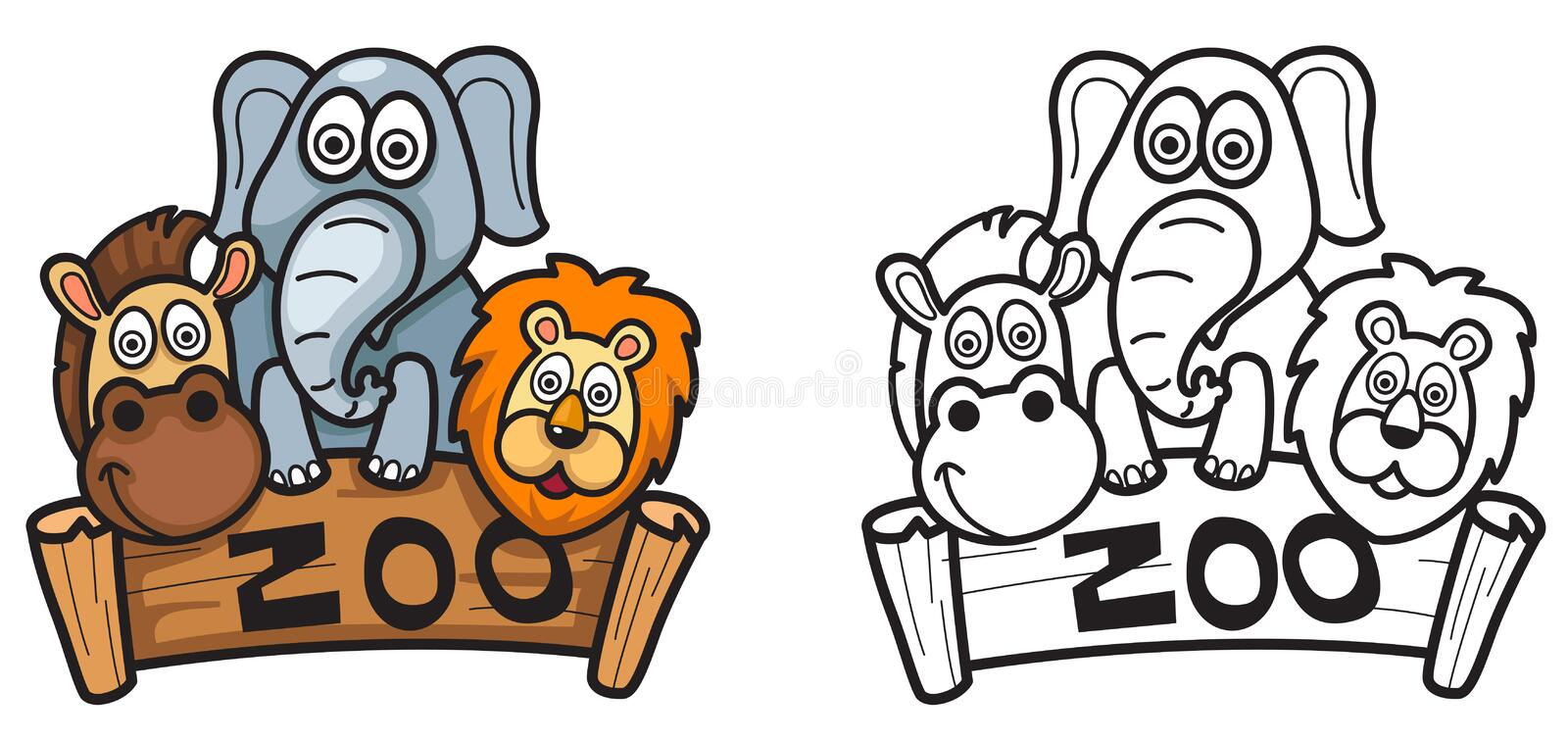 Colorful And Black And White Zoo For Coloring Book Stock Vector ...