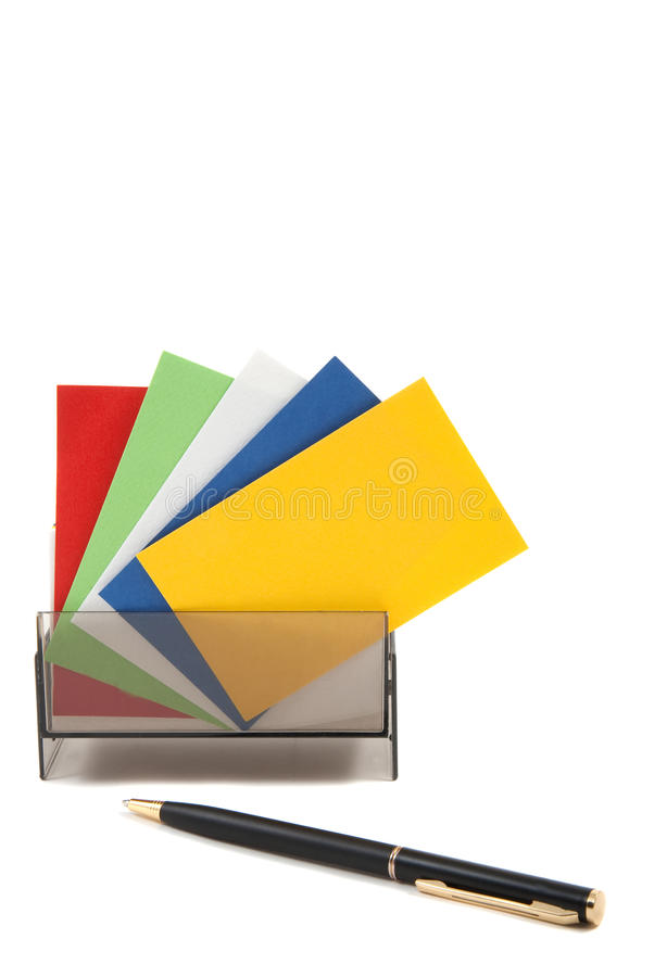 Colorful blank name cards in a box