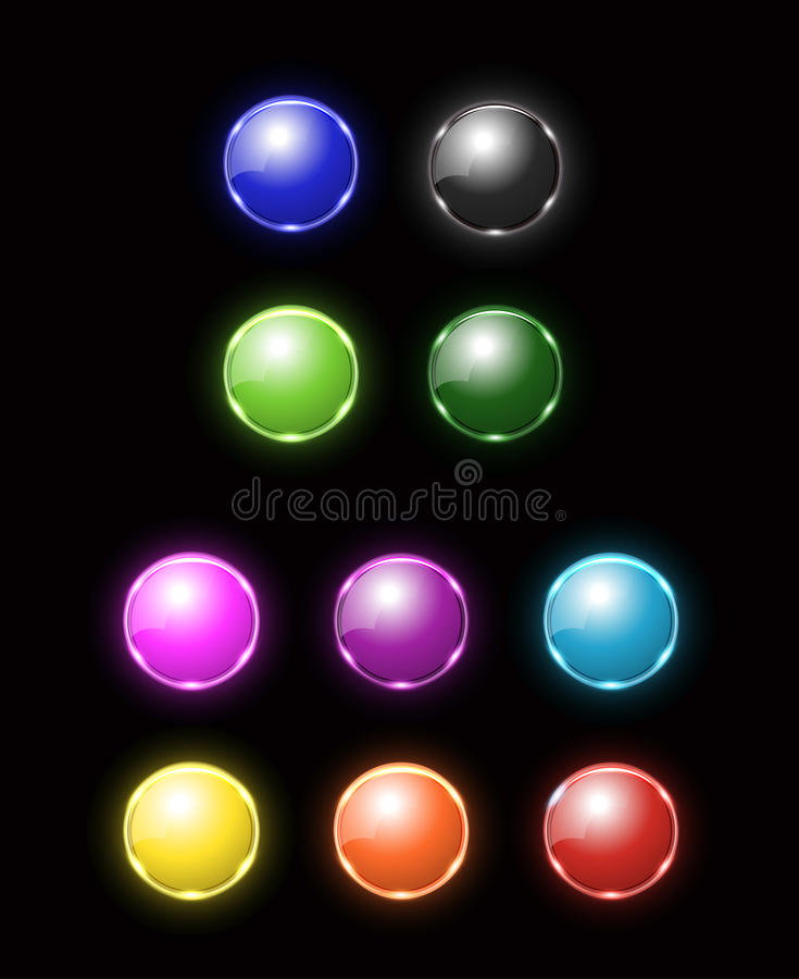 Download Colorful blank neon button stock vector. Image of information - 39924654