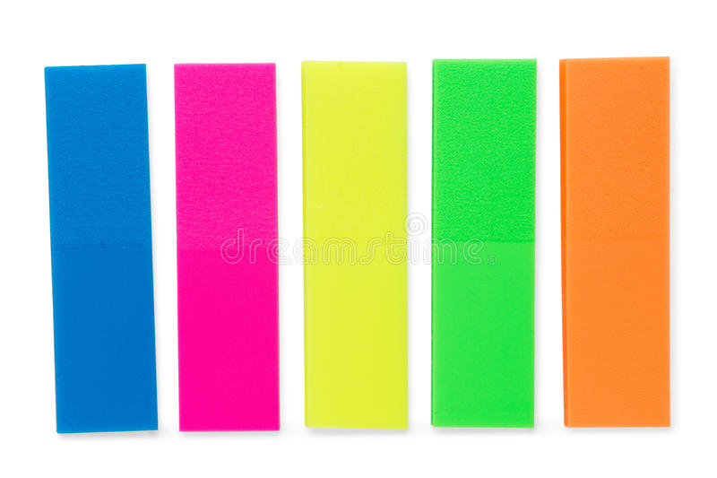 Colorful blank note sticker strips set. Isolated on white, clipping path included stock image