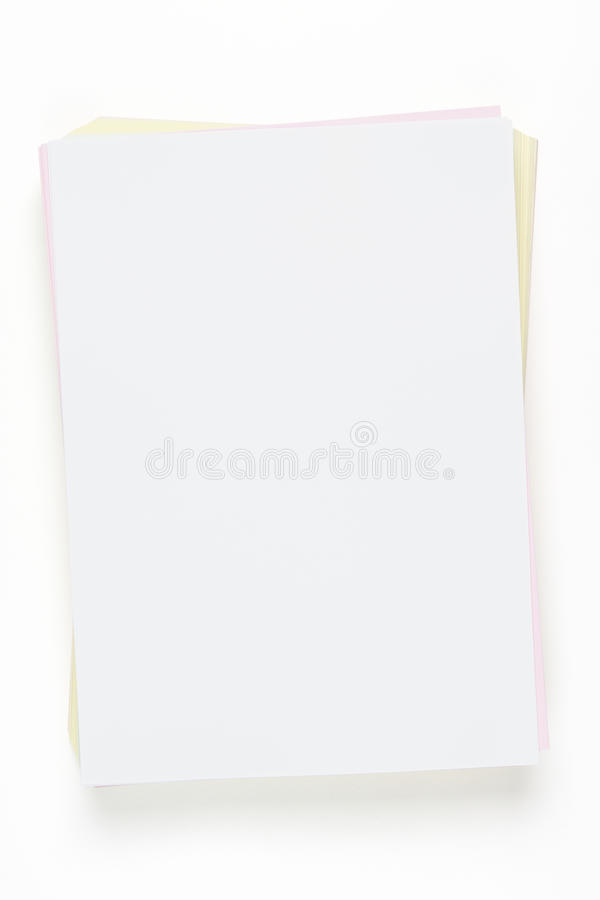 Colorful blank paper sheets with clipping path royalty free stock photo