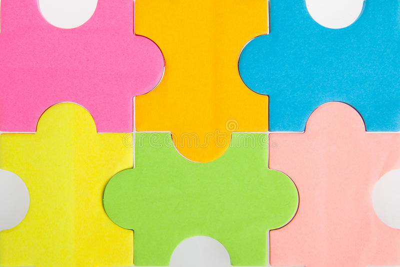 Colorful blank puzzle pieces stock image