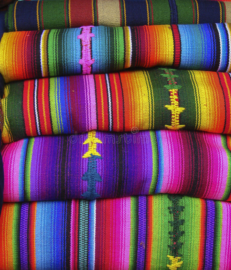 Colorful Blankets And Tablecloths Peru Stock Image