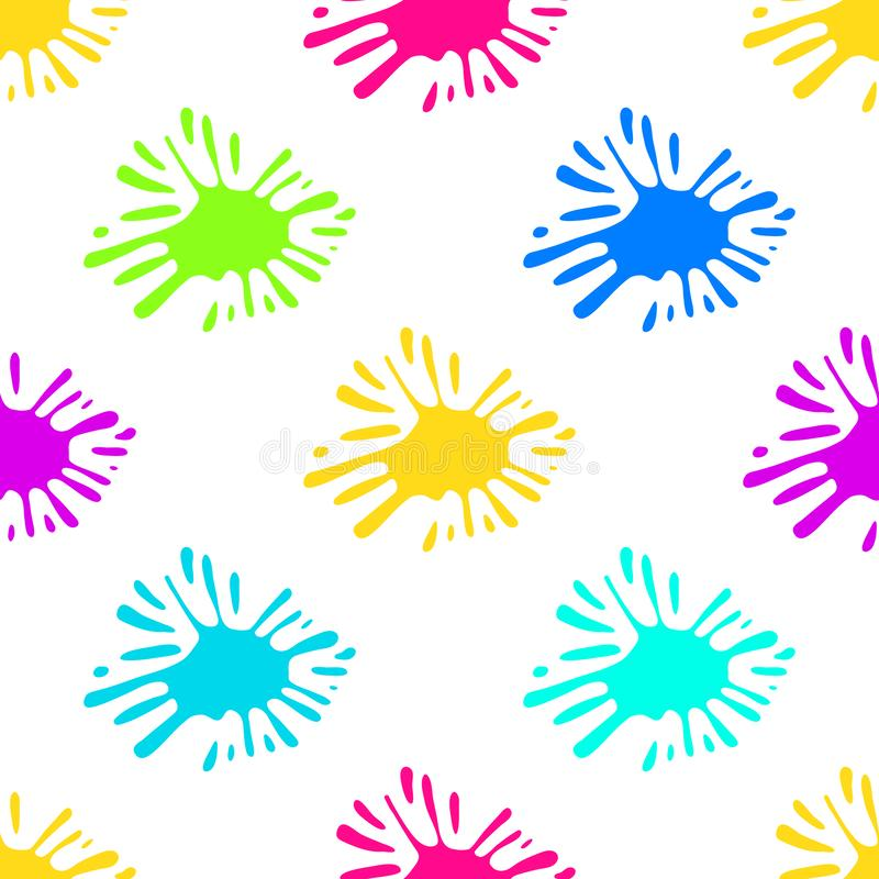 Colorful blobs of paint. Color Ink splat seamless, pattern. Colorful blobs of paint. Color Ink splat seamless, pattern stock illustration