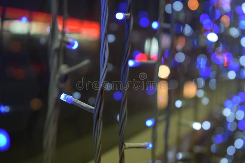 Colorful and blue LED series strip royalty free stock image