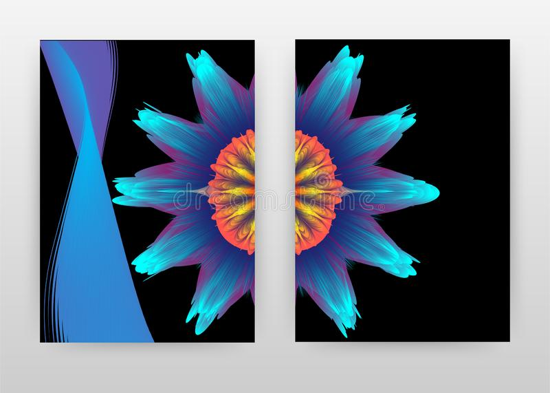 Colorful blue, orange flower petal design for annual report, brochure, flyer, poster. Floral black background vector illustration. For flyer, leaflet, poster royalty free illustration