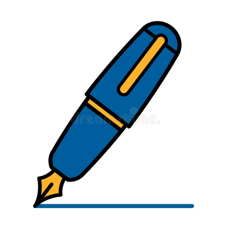 colorful blue outline cartoon fountain pen stock vector rh dreamstime com fountain pen nib clipart fountain pen nib clipart