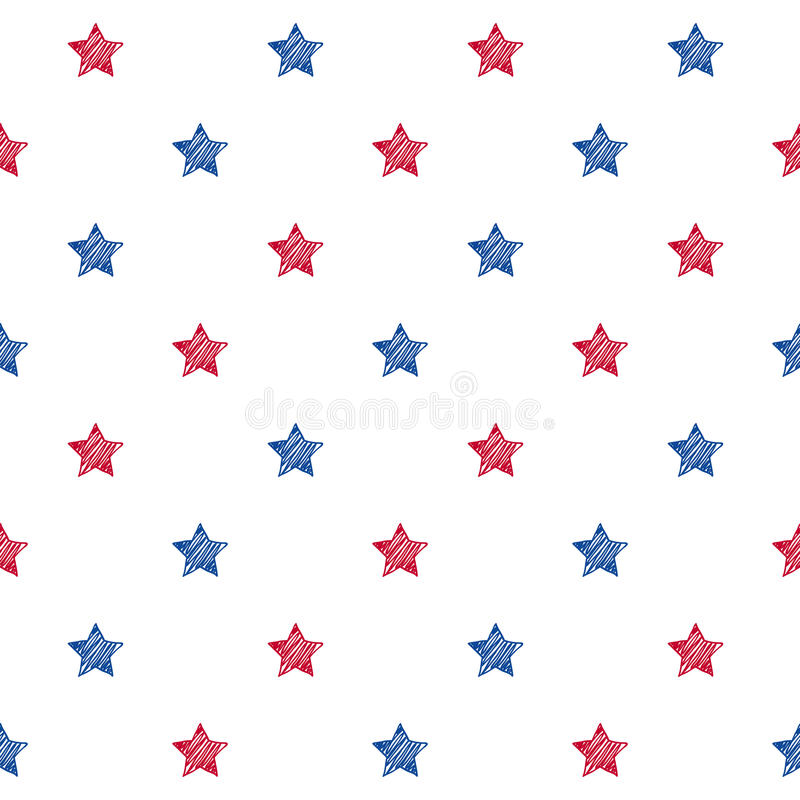 Colorful blue red and white stars seamless background. royalty free illustration