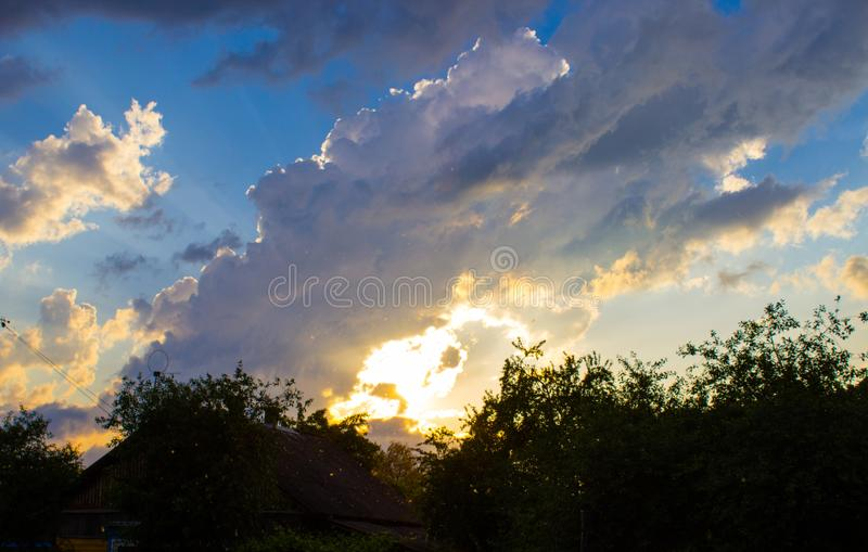 An unusual evening sunset. royalty free stock images