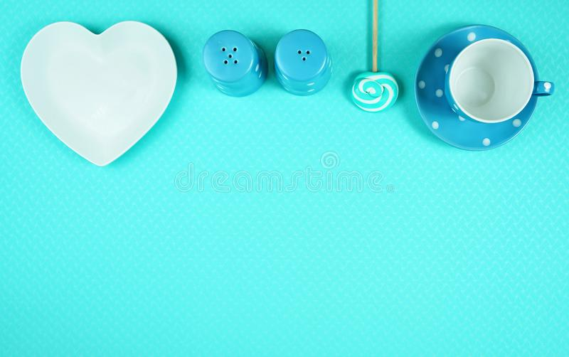 Colorful blue theme breakfast brunch table setting flatlay. Modern bright colorful blue theme morning breakfast or brunch table setting, flat lay with copy royalty free stock image