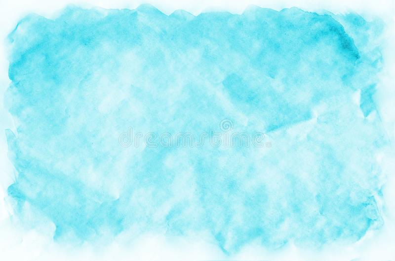Colorful blue watercolor wet brush paint liquid background for wallpaper, card. Aquarelle bright color abstract hand drawn paper t. Exture backdrop vivid element royalty free stock photo