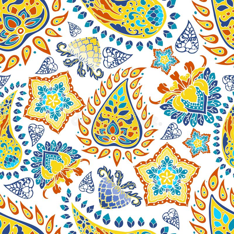 Colorful blue yellow red paisley vector  seamless pattern floral background in Indian style royalty free illustration