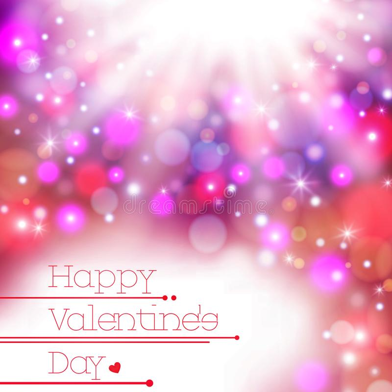 Colorful blur happy Valentine Day card background, stock illustration