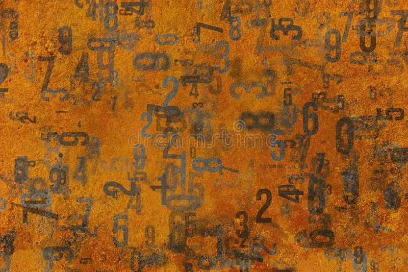Texture background pattern. Abstract shape, good for design. Fun, generative, messy & typography. Colorful & blur number from 0 to 9, word cloud for education stock illustration