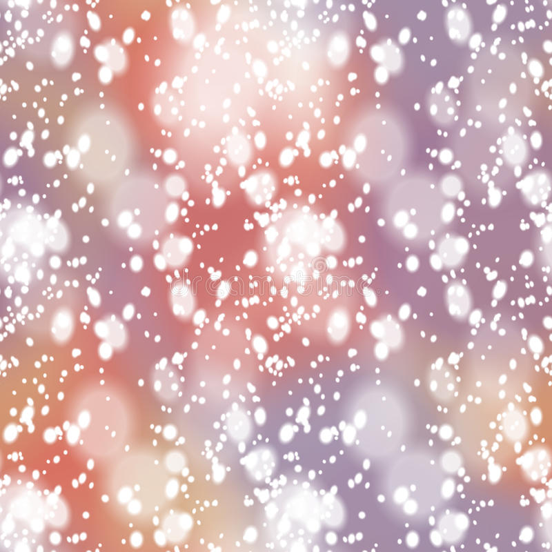 Colorful blurred background with snow overlay. Seamless pattern with colorful blurred background and realistic snow overlay. Background tile for winter holidays stock illustration