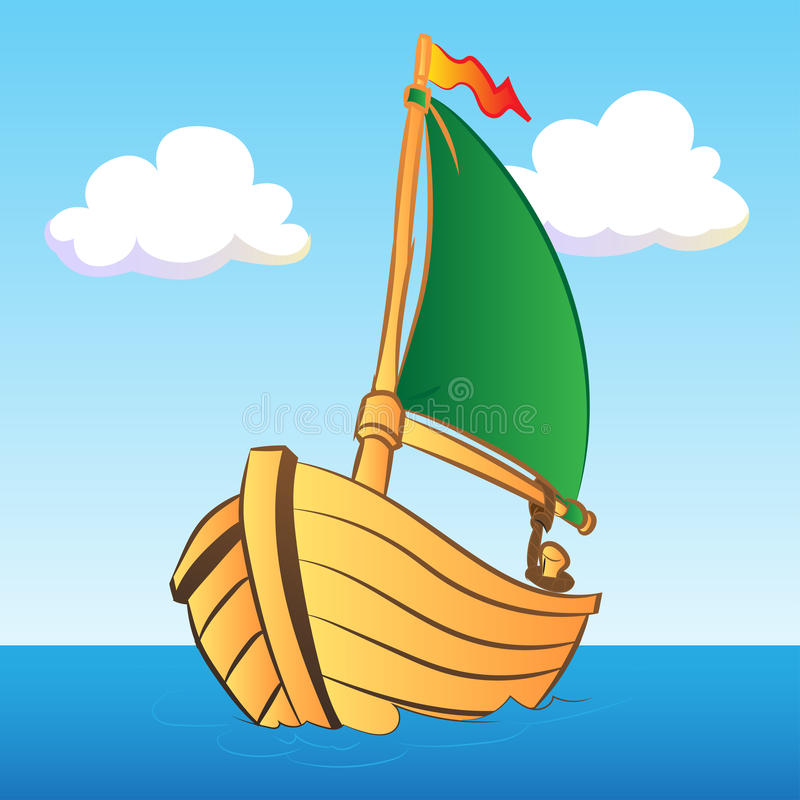 Colorful Boat Illustration - Vector Illustration. Colorful Boat Illustration for kid book - Vector Illustration royalty free illustration