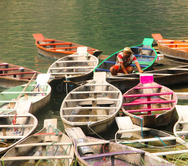 Colorful boats in the sea royalty free stock photography