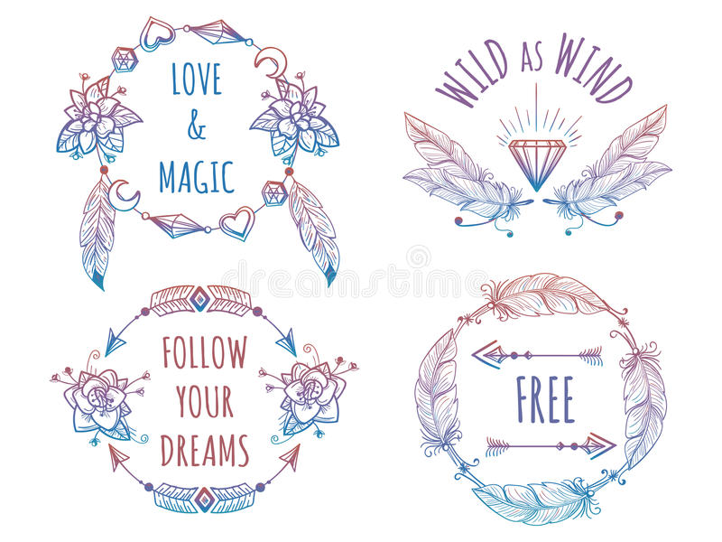 Colorful bohemian banners with lettering royalty free illustration