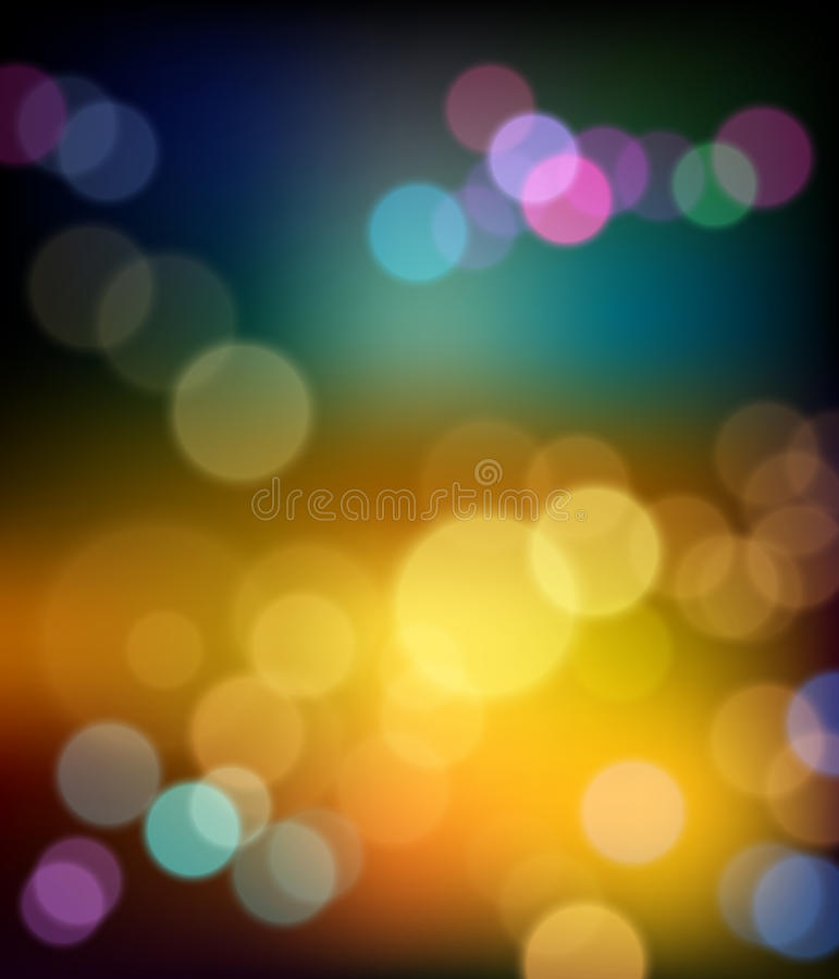 Colorful bokeh abstract winter background stock illustration