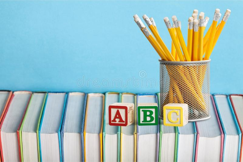 Colorful books collection, close-up view. Colorful collection books background nobody paper closeup royalty free stock image