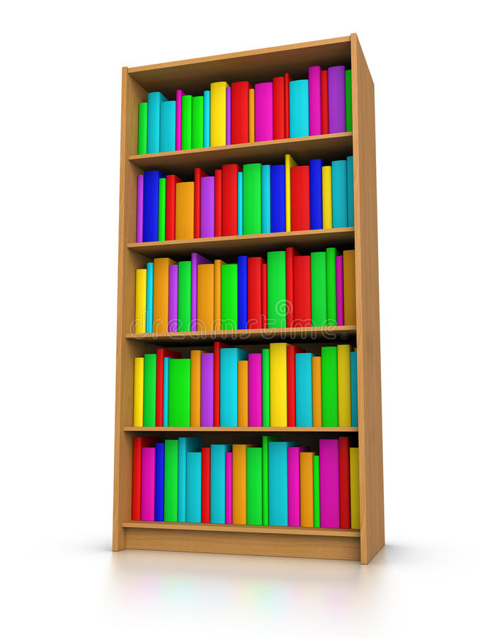 Download Colorful Books in Library stock illustration. Image of furniture - 23813387