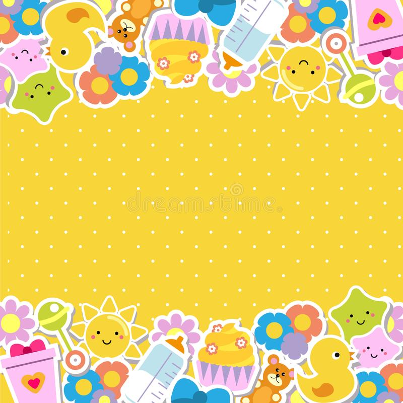 Colorful border Frame background with children and kids toys and symbols royalty free illustration