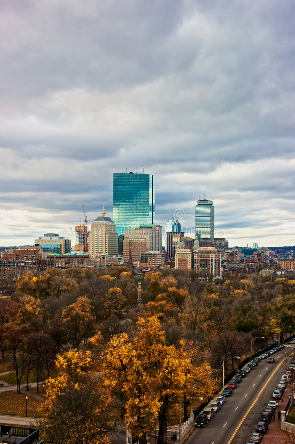 Colorful boston. Overlooking the city of boston massachusetts on a cloudy fall day royalty free stock image