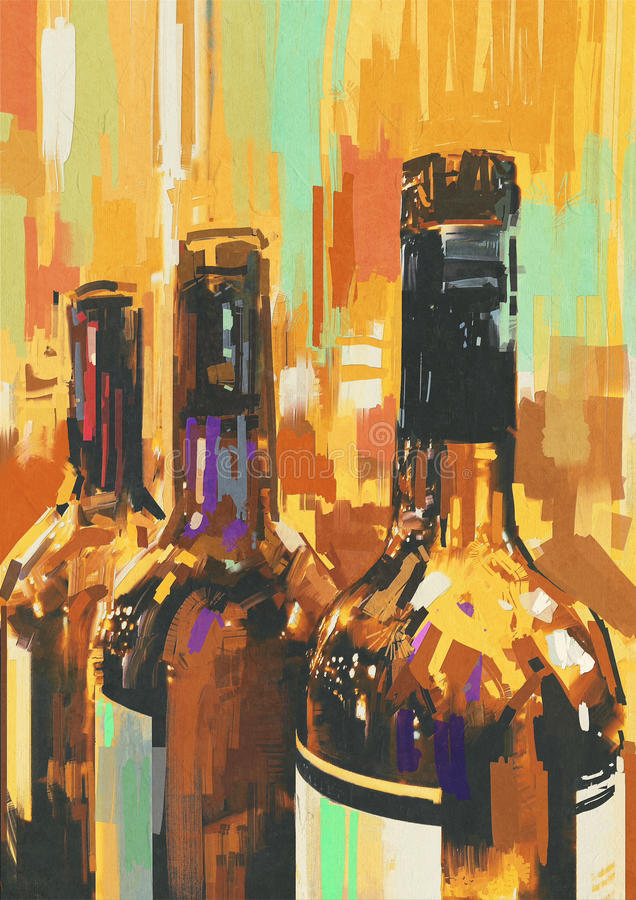 Colorful bottle of wine. Colorful painting with bottle of wine,illustration vector illustration