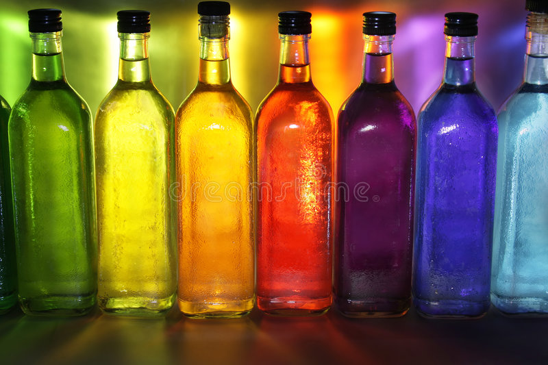 Colorful bottles stock photography